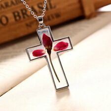 Charm Dried Rose Flower Cross Glass Pendant Necklace Women Jewelry Birthday Gift