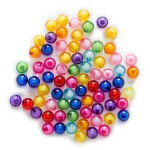 50 Piece Random Mixed Acrylic Round Shaped Spacer Beads Jewelry Making 10mm