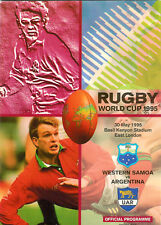 WESTERN SAMOA v ARGENTINA 30th MAY 1995 RUGBY WORLD CUP PROGRAMME,