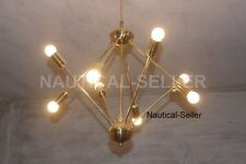 8 Light Mid-Century Polished Brass Sputnik Starburst Chandelier - Brass fixture