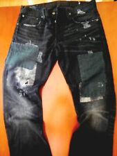 RALPH LAUREN MENS VARICK SLIM MOTORCYCLE PATCHED DISTRESSED repaired jeans