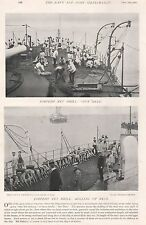 1896 MILITARY PRINT : TORPEDO NET DRILL, OUT NETS, ROLLING UP NETS