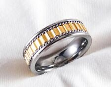 Genuine Titanium & 14k Gold Ring Comfort Fit Interior Size 12