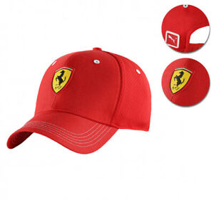 Puma Ferrari Red Logo Hat Rosso Corsa Wide Brim Strap Back Baseball Cap