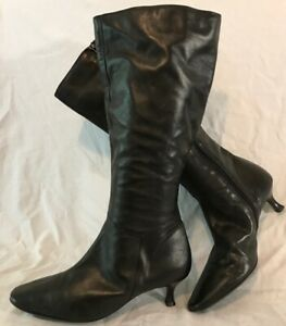 Clarks Black Knee High Leather Lovely Boots Size 7 (63Q)