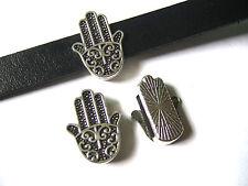 10 x Tibetan Silver Hamsa Hand Charm Slider Spacer For 10x2mm Flat Leather Cord