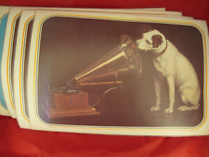 "4 LOT Vinyl/Plastic RCA Nipper ""His Masters Voice"" placemats  12"" X 17"""