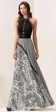 Abito  Maestri stampato neroe bianco elegante taglia 48 Elegant dress Kleid Robe