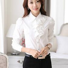Lady Ruffle Shirt Long Sleeve Button School Work Elegant Victorian Blouse Top