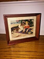 Vintage LASSIE Collie Dog & TIMMY Antique Lithograph Children's Framed Art RARE
