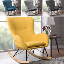Velvet/Linen Sun lounger Rocking Chair Side Pocket Padded Seat Relaxing Armchair