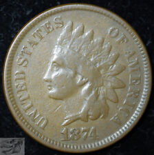 1874 Indian Head Penny, Cent, Fine Condition, Buy 4 Get $5 Off, Free Ship, C5334