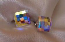 Flat Square HYPOALLERGENIC Stud Earrings Matrix Lattice in Aurora Borealis Color