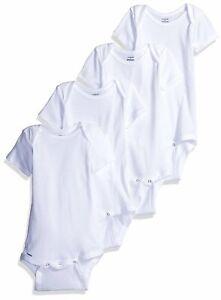Gerber Unisex Baby 4 Pack Bodysuit, White, Size 0.0 AA4I