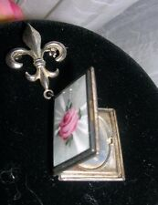 Antique Cloisonne Sterling Silver Book Locket Fluer De Lis w Pink Rose ~ signed
