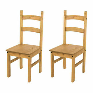 Pair of Dining Chairs Solid Pine Waxed Wooden Dining Room Furniture