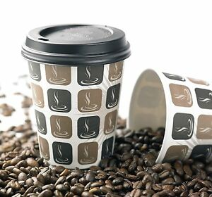 8oz Mocha Disposable Paper Hot Drink Coffee/Tea Catering Cup 50s,100s or 1000s