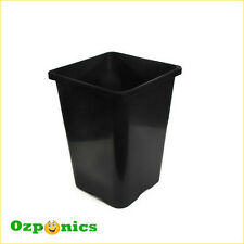 10 X HYDROPONICS SQUARE POT BLACK PLASTIC FLOWER BUCKET 24L 290MM WITH NO HOLES