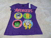 Girl's AvengersT Shirts XS S M L and XL Purple  Avengers On Front With Glitter