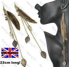 "HUGE 8""long BROWN FEATHER EARRINGS vintage brass chain bead LEAVES big BOHO wild"