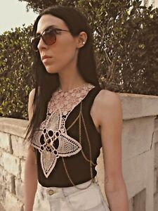 Handmade Lace Body Chain- Chain Top- Body Harness- Crystal Jewelry