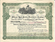 New Jersey Patterson Hydro-Positive Transmission Co Stock Certificate 1913 #69