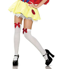 Ladies Over Knee Socks Stockings Thigh High With Bows Hold Up Xmas Costume NEW