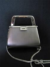 Metallic Evening Bag with Rhinestones Shoulder Silver Purse