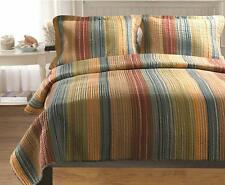 Beautiful Modern Stripe Blue Green Brown Grey Orange Rust Red Cabin Quilt Set