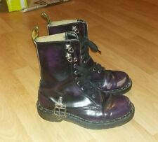 Taille 4 Uk 37 EU Doc Martens Bottes Violet Dr Martins Punk Boucle RARE MADE IN UK