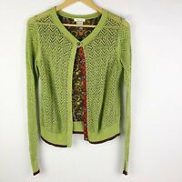 Matilda Jane Size Medium Secret Fields Ivy Cardigan Green Open Knit Sweater