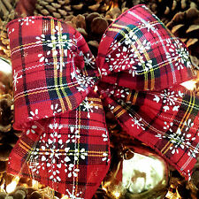 Wired Red, Green Tartan Ribbon.Christmas Snowflake Cake Tree Decoration Wreath
