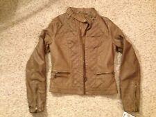J2 100% Vegan Style 007-471KS Tobacco Brown Leather Bomber Jacket Size X-Small