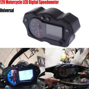 12V Motorcycle LCD Digital Speedometer Universal Tachometer Odometer Gauge ABS
