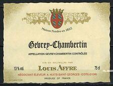 Etiquette de Vin - Bourgogne - Gevrey Chambertin -Eleveur L.Affre - Réf.n°67
