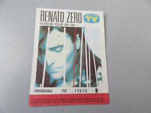 Biglietto Renato Zero Voyeur Tour '89 - '90 Buone Condizioni come da foto