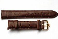 New 20mm Brown Genuine Leather Watch Strap / Gold Plated Buckle For Omega