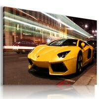LAMBORGHINI AVENTADOR YELLOW Sports Cars Wall Art Canvas Picture  AU716  MATAGA