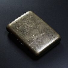 Vintage Silver Brass Copper Plain Blank Wiredrawing Cigarette Metal Case Box