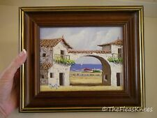 "Small Painting Wood Framed Art Seaside Beach Scene 8"" x 10"" Signed"