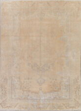 ANTIQUE Muted Pale Peach Geometric Tebriz Distressed Area Rug Hand-Knotted 9x12