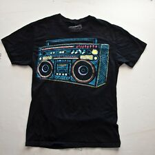 HOLLYWEIRD GHETTO BLASTER BOOMBOX T SHIRT (GRAPHIC TEE) BLACK SMALL COTTON