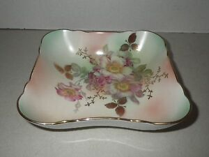 Bavaria Schumann Arzberg Germany WIld Rose Blush Gold Square Bowl