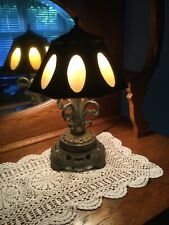 1970s EF & EF Industries Brass Lamp with Slag Glass Inserts Shade