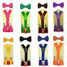 Lovely Baby Toddler Kids Boys Plain Elastic Suspender & Bow Tie Set Easy to Clip