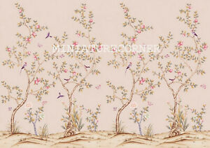 Dolls House Wallpaper Mural Birds 1/12th scale Chinoiserie  Miniature   #27