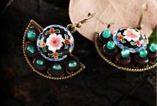 Women Earrings fashion Jewelry Japanese Fan Flower enamel dangle hook FREE GIFT