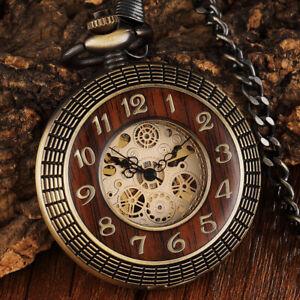 Dual Arabic Roman Numerals Pocket Watch Mechanical Wind Up Vintage Bronze Watch