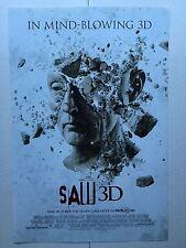 """SAW 3D - 13""""x20"""" Original Promo Movie Poster MINT 2010 TOBIN BELL"""