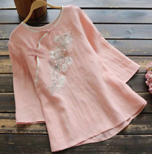 Retro Womens Chinese Style Shirt Button Embroidery Cotton Linen Loose Fit Top
